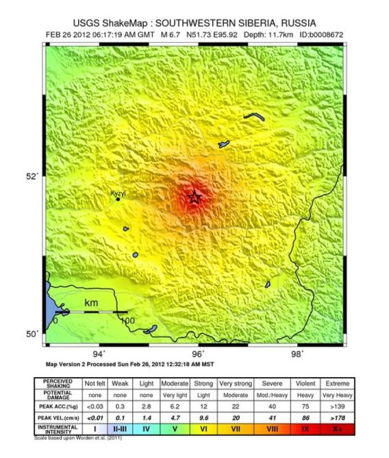 Mapa z zaznaczonym epicentrum trzęsienia (USGS)