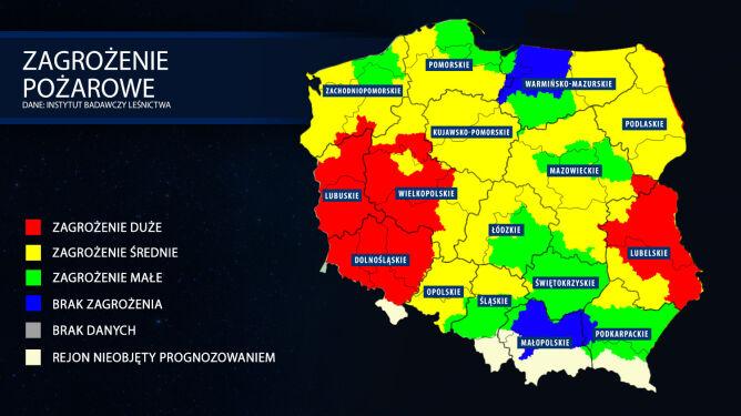 Mapa zagrożenia pożarowego z 25 lipca (tvnmeteo.pl za IBL)