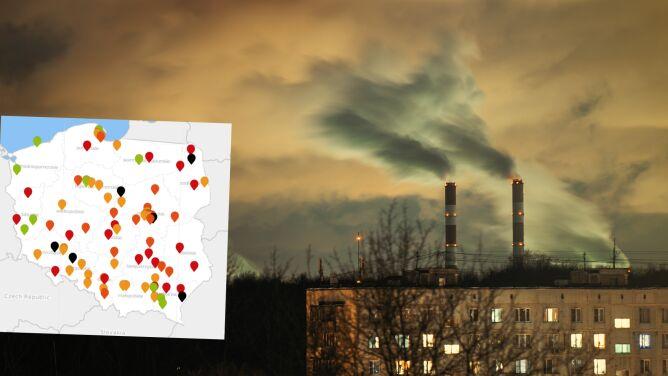 Smog dusi Polskę. Wiele czarnych punktów na mapie