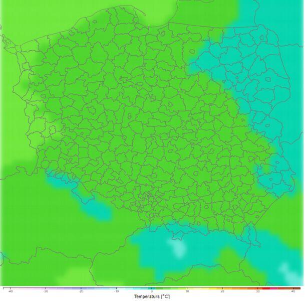 Średnia dobowa temperatura zimą w latach 2081-2090. Scenariusz RCP4.5 (klimada2.ios.gov.pl)