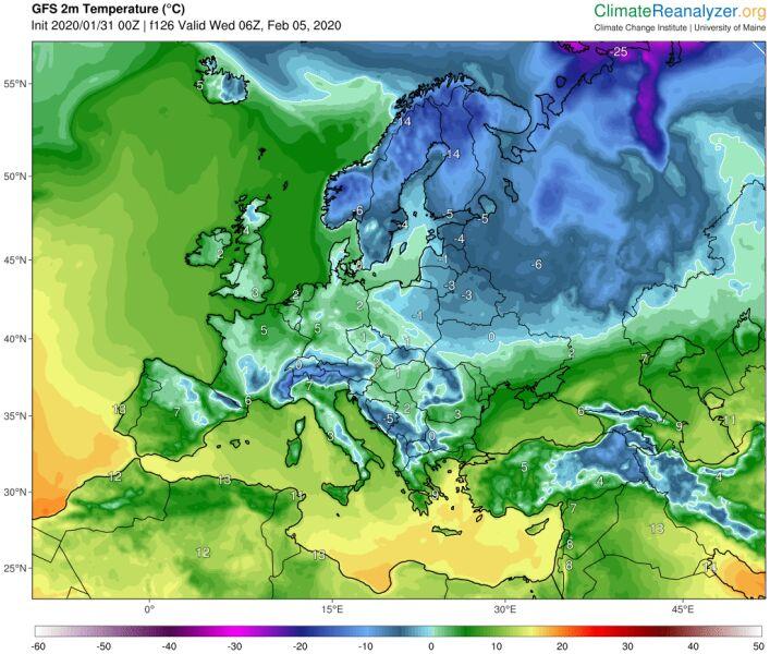 Prognozowana temperatura powietrza na poranek 6 lutego według model GFS (University of Maine)